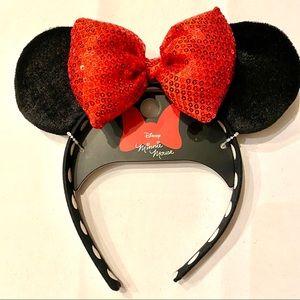Disney Minnie Mouse Ears Red Sequin Headband